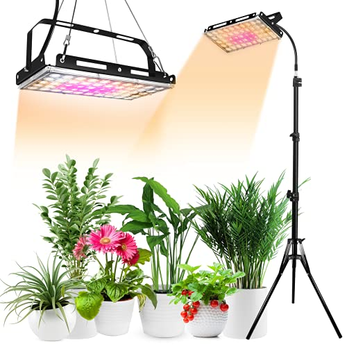 Plant Grow Light with Stand, 150W Full Spectrum LED Floor Plant Light for Seedlings Indoor Plants, LED Standing Floor Grow Lamp with On/Off Switch(Adjustable Tripod Stand)