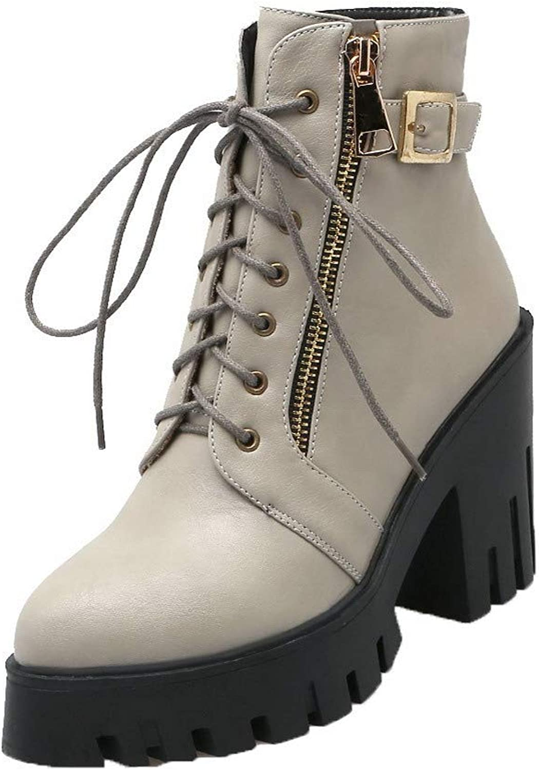 WeenFashion Women's Low-Top Solid Zipper Closed-Toe High-Heels Boots, AMGXY111952