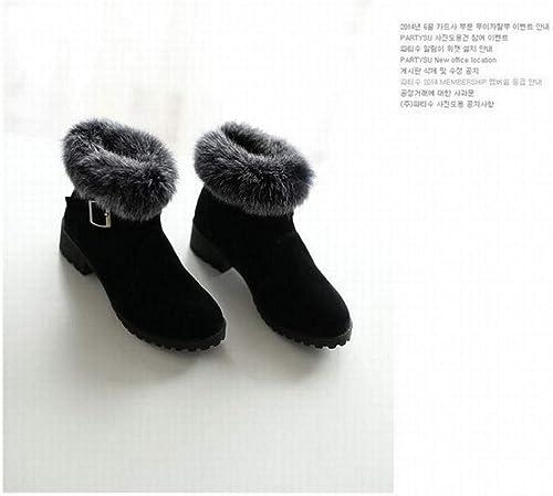 ZHRUI Calzado de damen - Calzado Stiefel de esquí Stiefel Cortas schuhe de algodón schuhe de Gran tamaño para damen 34-43 (Farbe   schwarz, tamaño   42)