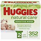 Huggies Natural Care Sensitive Baby Wipes, Unscented, 2 Refill Packs (352 Wipes Total)...