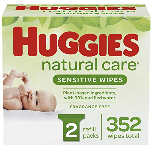 Huggies Natural Care Sensitive Baby Wipes, Unscented, 2 Refill Packs (352 Wipes Total)