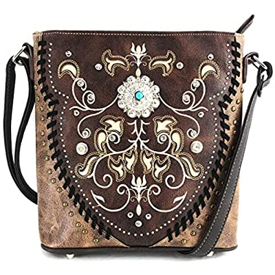 Justin West Tooled Gleaming Turquoise Stone Floral Laser Cut Rhinestone Messenger Bag Purse with Long Cross Body Strap (Brown)