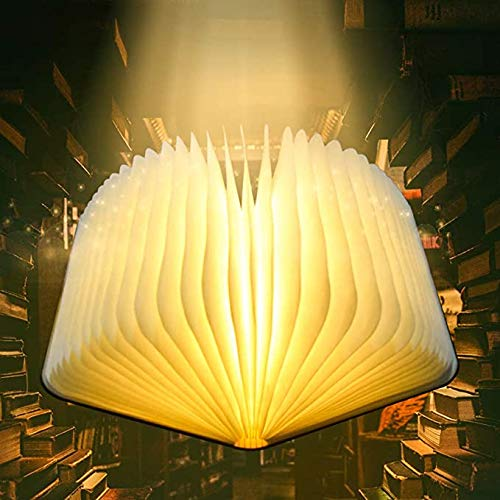 Lampada Libro,Pieghevole USB Ricaricabile Libro Lampada Luce LED di Legno,Bianco a Caldo Decorazione Lampada a Forma di Libro,Lampada da Tavolo Luci Notturne,Regalo di Natale/Compleanno/San Valentino