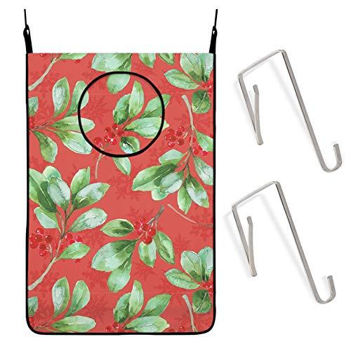 Antvinoler Hanging Laundry Hamper Bag,Poinsettia Flower Red Dirty Clothes Bag Large Storage Folding Basket Hanging Zippered Laundry Basket for Bathroom, Closet, Behind Doors