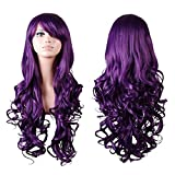 Rbenxia Curly Cosplay Wig Long Hair Heat Resistant Spiral Costume Wigs Anime Fashion Wavy Curly Cosplay Daily Party Purple 32' 80cm