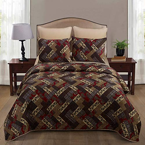 Donna Sharp Full/Queen Bedding Set - 3 Piece - Hidden Valley Lodge Quilt Set with Full/Queen Quilt and Two Standard Pillow Shams - Machine Washable