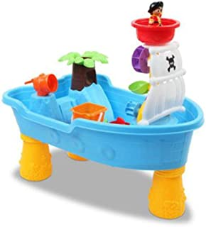 Kids Outdoor Pirate Ship Sand and Water Table Children Play Beach Sandpit Toys