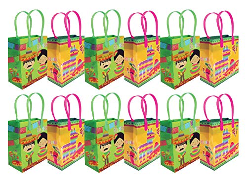 Fiesta Themed Party Favor Bags Treat Bags, 12 Pack