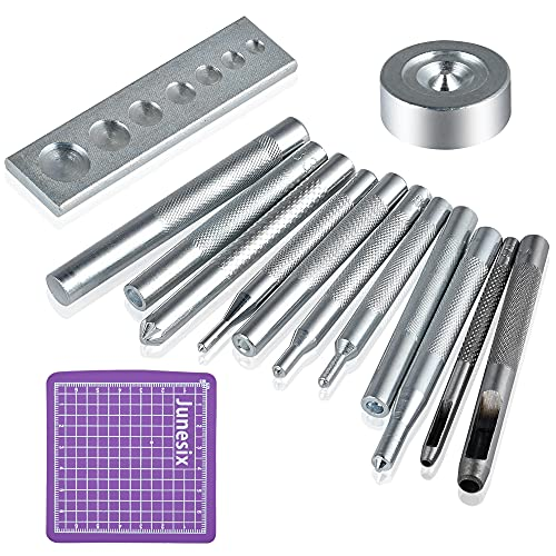 Worldity Snap Rivet Setter, 14Pcs Leather Die Punch Hollow Eyelet Hole Hand Snap Installation Kit, Stainless Steel Rivet Setting Tool for Bag Making DIY Leather Crafts with Non Slip Base