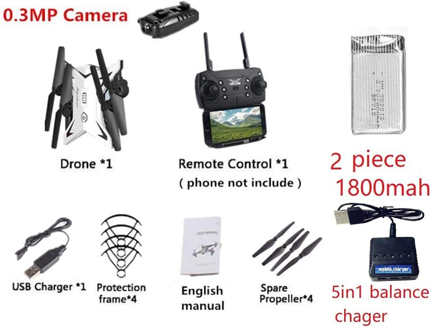 Generic Upgrade RC Drone with Camera HD 1080P WiFi FPV Drones Quadcopter Altitude Hold Wide Angle RC Helicopter VS X52 X12 SG700 RC Dron 480P Camera1052
