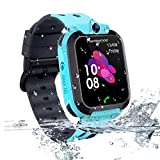 Kids Smart Watch GPS Tracker - Waterproof GPS Tracker Watch for Children Kids with SOS Call Camera Touch Screen Game Alarm for Boys and Girls (Blue)