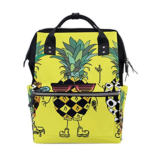 Mochila Casual para Mujer Music Life Pineapple Band Bag Wide Open Work Doctor Style Daypack Canvas para Damas Niñas Mochila