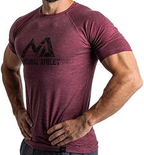 Herren Fitness T-Shirt meliert - Männer Kurzarm Shirt für Gym & Training - Passform Slim-Fit, lang mit Rundhals, Bordeaux, L