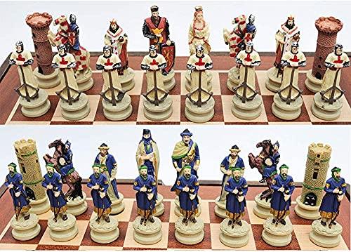 JYDNBGLS Piezas de ajedrez cruzadas pintadas a mano para hombres solamente, sin tablero