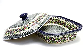 Polish Pottery Baker - Rectangular Covered - Large - Burgundy Berry Green