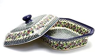 Polish Pottery Baker - Rectangular Covered - Large - Burgundy Berry Green