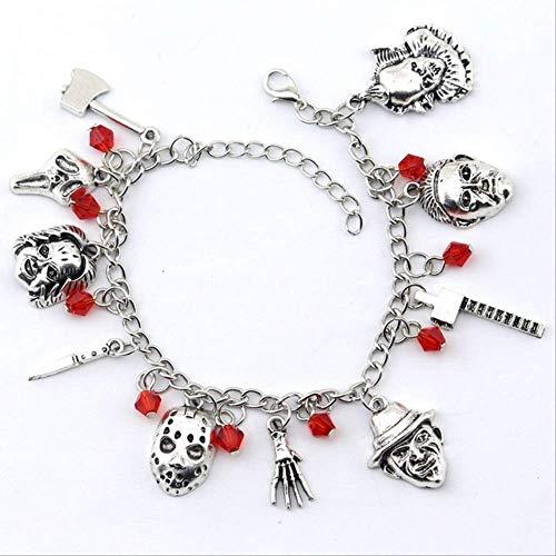 ruofengpuzi Hockey Terror Charm Armband Für Frauen Halloween Armband Schmuck Geschenk Silber