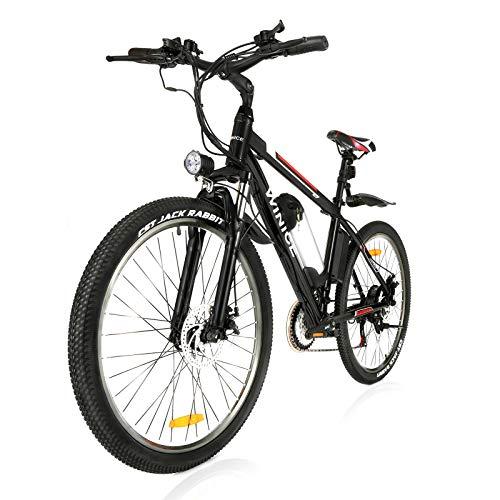 "VIVI 26""Elektro-Mountainbike 350W Elektrofahrrad 36V 10.4Ah Abnehmbare Batterie E-Bike 25MPH 21 Gangschaltung Erwachsene E-Bike Pendlerrad (schwarz, 250W)"