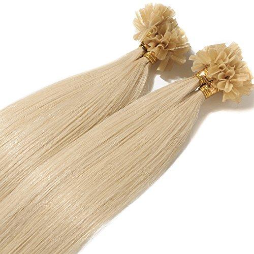 Extension Cheratina Capelli Veri 1 Grammo per Ciocca 50g/pack U Tip Remy Hair Umani Naturali Lisci (55cm #60 Biondo Platino)