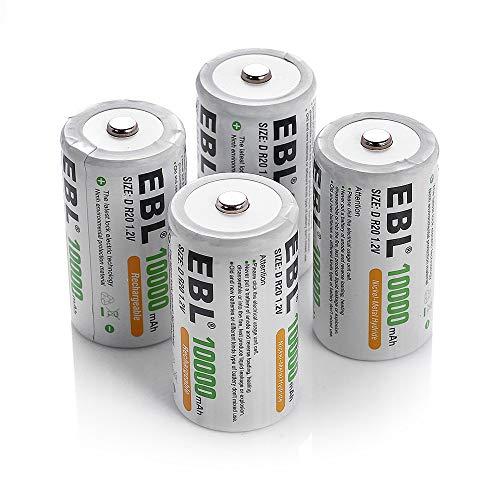 EBL 単1形 充電式ニッケル水素充電池 4本入り 電池保管ケース2個付き 1.2V 大容量10000mAhで長持ち 約1200回使用可能 おもちゃ、LED懐中電灯、ラジオ、ゲームカメラ、給湯器に適用防災電池