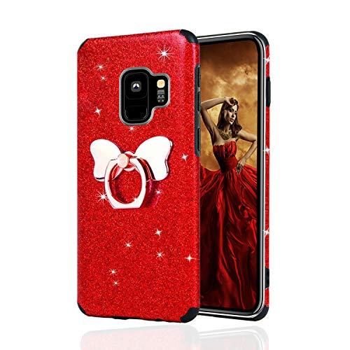 Misstars Glitzer Hülle für Galaxy S9 Rot, Bling Pailletten Weiche TPU Silikon Handyhülle Anti-Rutsch Kratzfest Schutzhülle mit Schmetterling Ring Ständer für Samsung Galaxy S9
