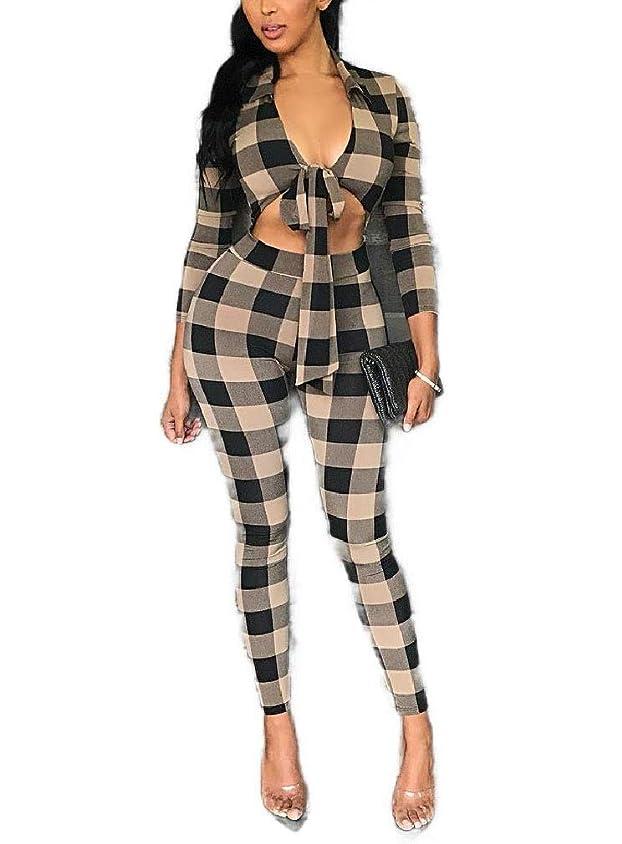 アトラス信頼性のある抑圧するGodeyesW 女性の2つの部分は、Vネックプレイド作物トップとBodyconパンツ服装をセットしました