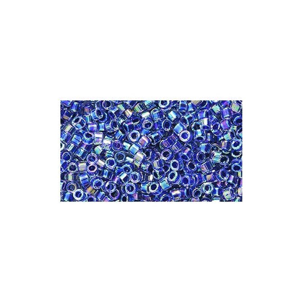 Miyuki Delica Seed Bead 11/0 DB059, Colorlined Amethyst Aurora Borealis Finish, 9-Gram/Pack