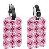 Yitian Superposed Pink Circle - Etiquetas para bolsas de viaje (2 unidades), color rosa