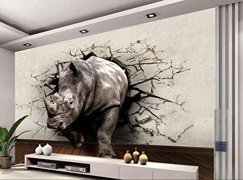 Fototapete Nashorn Loch Tier Wandbild Eingang Schlafzimmer Wohnzimmer TV Hintergrundbild @ 300 * 210cm