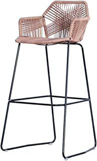 JU FU Bar Stool Iron Bar Stool, Modern Bar Chair, Rattan...