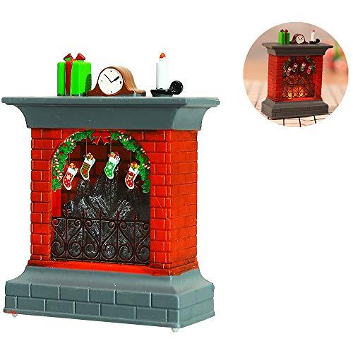 Wankd Tafellamp, kerstdecoratie, open haard, led-lantaarn met verlichting, lichtketting, tafellamp, 3D-effect, werkt op batterijen en stroom