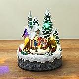 Watkings Decoración musical de Navidad con luz, ornamento de invierno de Navidad en movimiento resina nevada casa estatua de temporada invierno