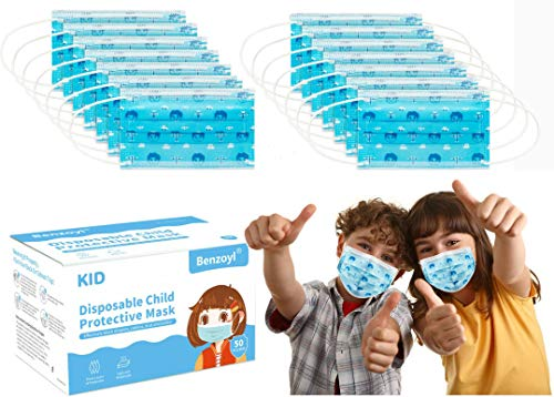 Cute Disposable Kids Face Protective Masks, 50pcs 3-Layer Facial Cover Masks with Elastic Ear Loops, Comfortable Universal Design for Kids Children School Daily Use, Blue