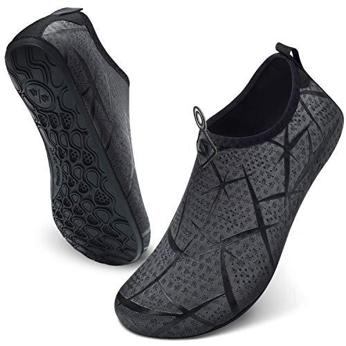 JIASUQI Damen Leichte Wasseraerobic Schuhe für Strand Pool Brandungs Wasser Übung Grauer Druck, 36/37 EU
