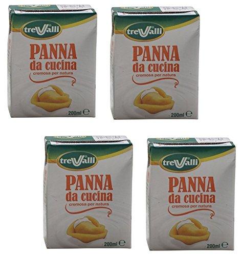 Tre Valli Italian Panna Da Cucina, UHT Long Life Cooking Cream 6.76 fl.oz 200ml ,Pack of 4