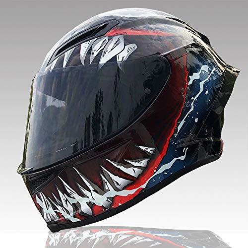 Nitrinos Venom Helmet Full Face Off Road Racing Motocross Motorcycle Helmet (XL, with Black Visor)