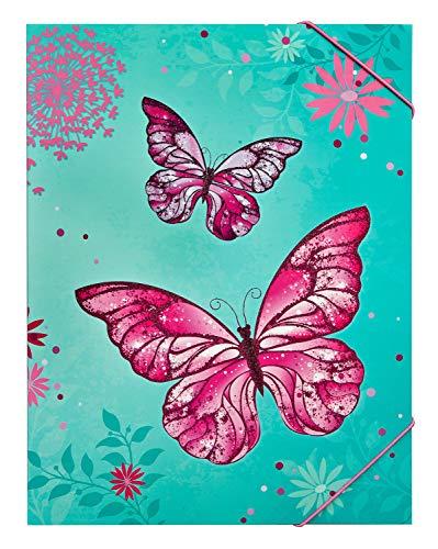 Undercover BUTE0300 Gummizugmappe A4 mit Gummis über Eck, Butterfly, ca. 32 x 25 cm