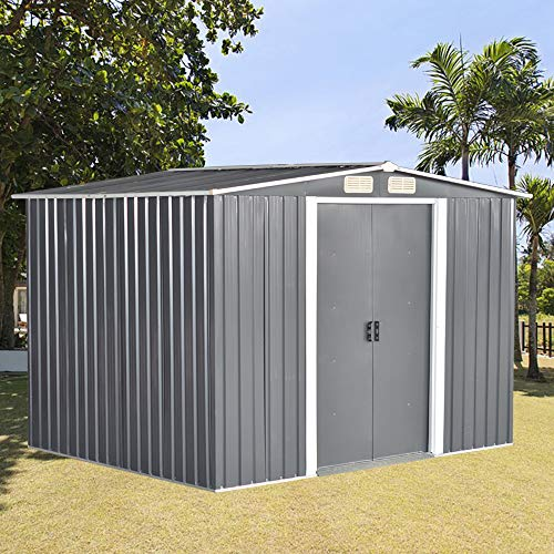 8 X 10 ft Metal Garden Shed Steel Sheds Outdoor Garden Tools Storage Shed with Free Base(Gray)