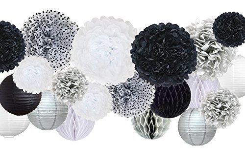"30 Pcs Tissue Paper Pom Pom Kit, Mixed Sizes 14"", 10"", 8"", 6"", Paper Flowers, Lanterns, Honeycomb Balls, for Wedding, Birthday, Anniversary, Retirement, Bridal Shower - Black, Silver, White, Polka Dot"