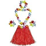 Fighting to Achieve Girl's Elastic Hawaiian Hula Dancer Grass Skirt with Flower Costume Set-red