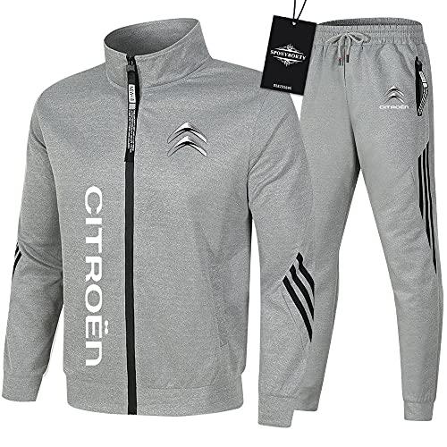 Ashleyy de Los Hombres Chandal Conjunto Trotar Traje Cit_R.Oen Hooded Zipper Chaqueta + Pantalones Sudadera Baloncesto Ropa Gimnasio / gray/M