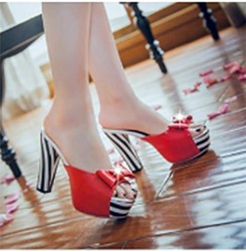 SCLOTHS été Tongs Femme Chaussures avec épais Talon Haut Diahommet Artificiel étanche Bow-cravate