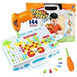 Jamohom Drilling Building STEM Toys, Electric Drill Puzzle Toys and Button Art Kit, DIY Construction...