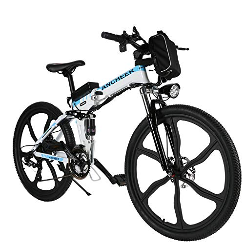 ANCHEER 26 Zoll E-Bike Mountainbike 250W Motor 36V 8AH Lithium Akku 21-Gang, Klapprad Pedelec Faltbares Elektrofahrrad mit 6-Speichen-Rad Vollfederung