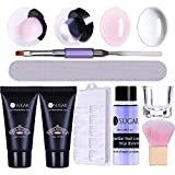 UR SUGAR Extension Nail Gel Kit Quick Building Poly Builder UV Gel Set With Slip Solution Liquid Container Finger Extension Nail Art Tools Set Nail Mold Nail Brush Clear Soft Pink