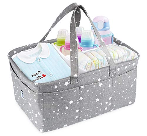 ilauke Baby Windel Caddy, Multifunktionale Baby Windel Organizer Tragbar Windeln Korb mit Abnehmbarem Teiler 10 Unsichtbaren Taschen für Auto, Schlafzimmer, Reisen und Wickeltisch