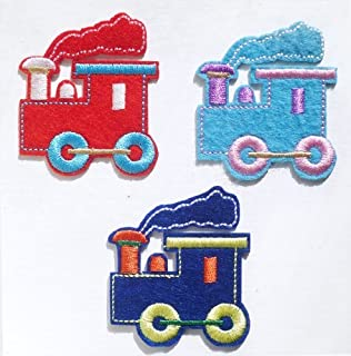 Choo-Choo Trains (Set of 3) Iron on Sew on Embroidered Patch Badge Applique Motif
