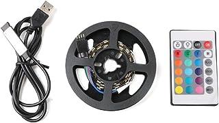 Auveach 1M 5V 5050 60SMD/M RGB LED Strip Lamp Bar TV Back Lighting Kit USB Remote Control Black