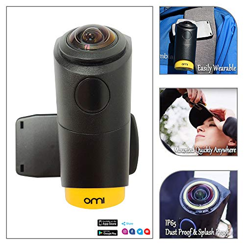 OmiCam II Wearable VR Action Camera with 4K 240 Degrees View Image Stablization Sports Travel Camera for Outdoor Blogging Virtual Reality/New and Upgraded Edition