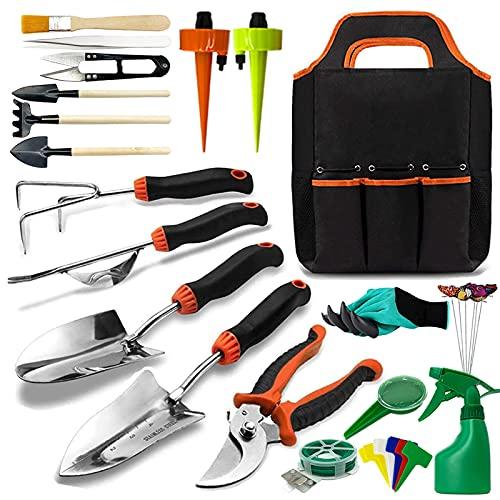 Gartenwerkzeug set, OMNIQI 36 Gartengeräte Set aus Edelstahl mit Gartengeräte Tasche, Gartenset Werkzeug mit Bonsai Zubehör und Automatischer Bewässerungsvorrichtung, Gartengeschenke für Frauen Männer